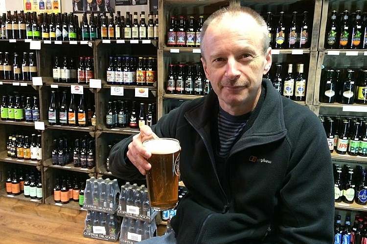 Clive Walker with a beer