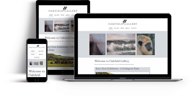 Oakfield Gallery website on different devices