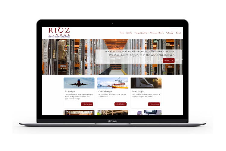Screenshot of the Rioz Global website on a laptop