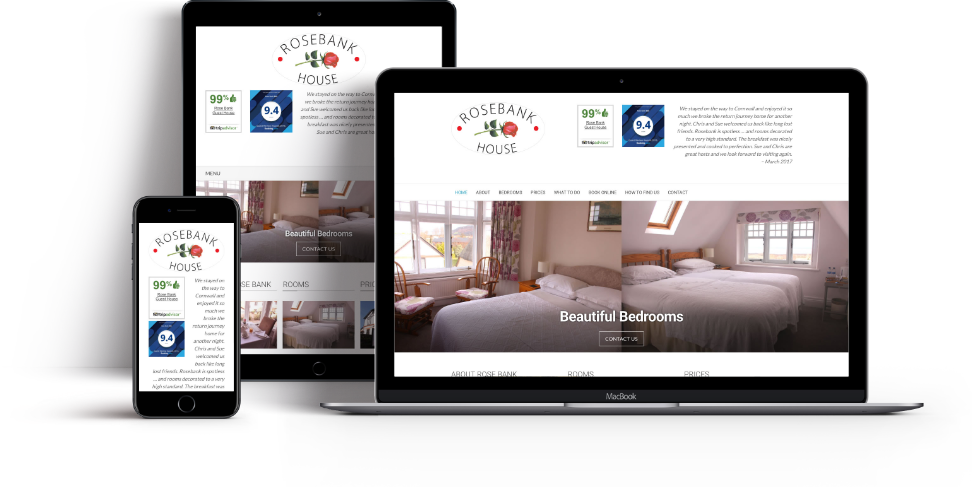 Thumbnail of Rosebank House website screenshots on iPhone, iPad and MacBook Pro
