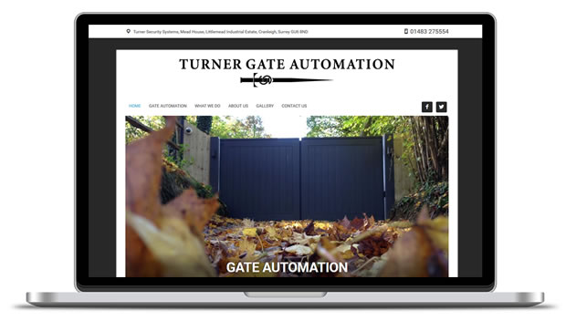 Screenshot of the Turner Gate Automation site