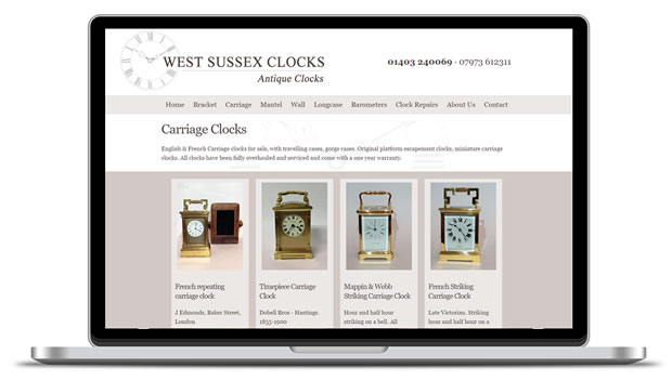 Screenshot of the West Sussex Clocks site